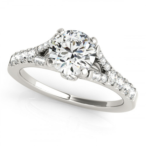 WS50668W-75   Side Stone Engagement Ring.   Payroll Jewelry