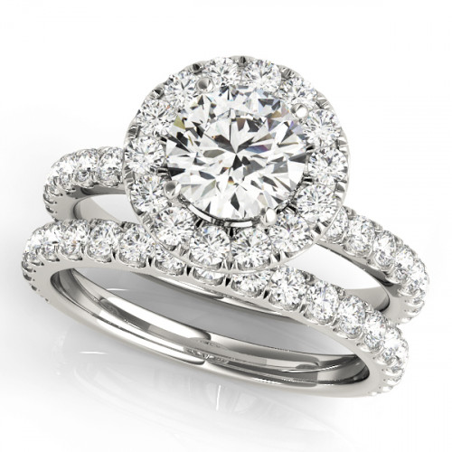 WS50838W-1ct | Halo Wedding Set Engagement Ring. | Payroll Jewelry