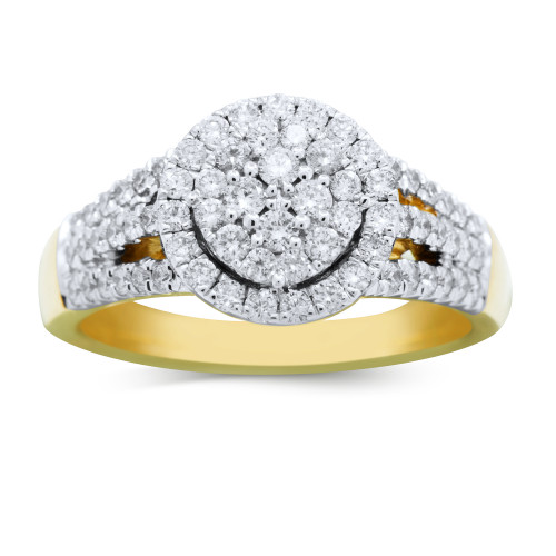 WLR518Y   Halo Ladies Yellow Gold Engagement Ring   Payroll Jewelry
