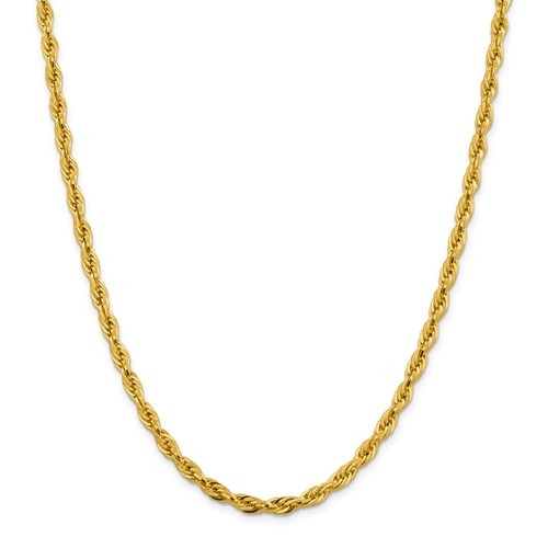 3mm Rope Chain   14K Yellow Gold   24 Inch