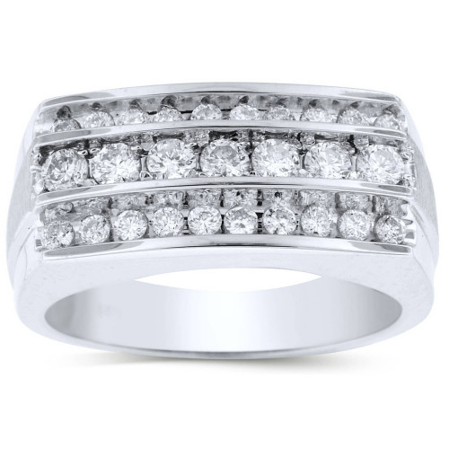 GR27604W   White Gold Mens Ring.   Payroll Jewelry