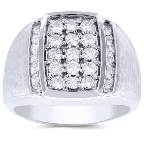 GR27608W   White Gold Mens Ring.   Payroll Jewelry