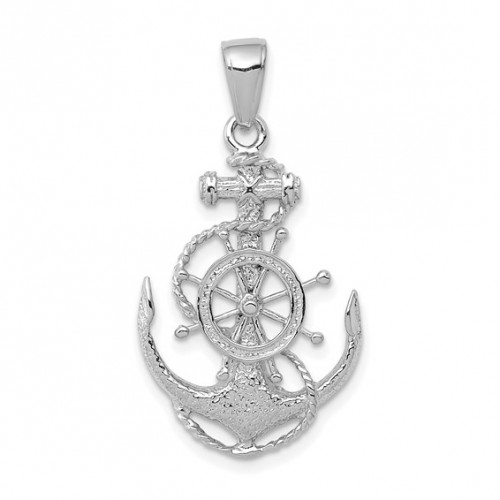K3080W   White Gold Anchor with Wheel Pendant   Payroll Jewelry