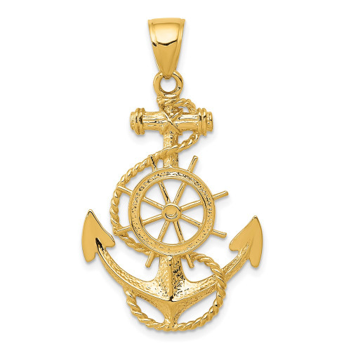 K3083   Gold Anchor and Wheel Pendant   Payroll Jewelry