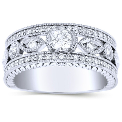 LR66763W   Side Stone Ladies White Gold Ring   Payroll Jewelry