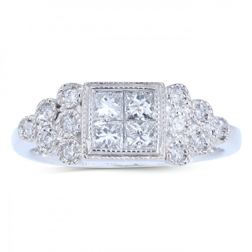 WLR290165W   Side Stone Engagement Ring   Payroll Jewelry