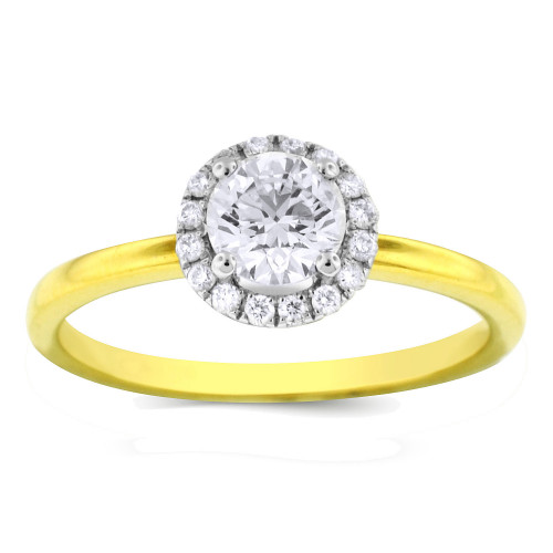 WS16806Y   Yellow Gold Halo Engagement Ring   Payroll Jewelry