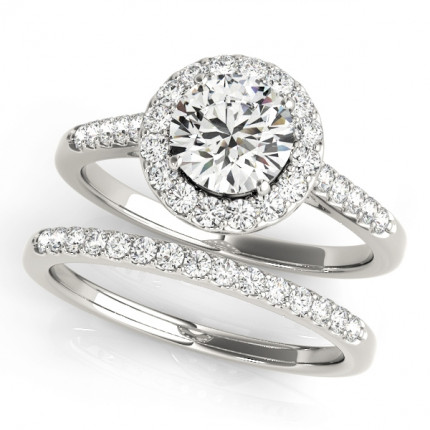 WS50345SET | Halo Wedding Set Engagement Ring. | Payroll Jewelry