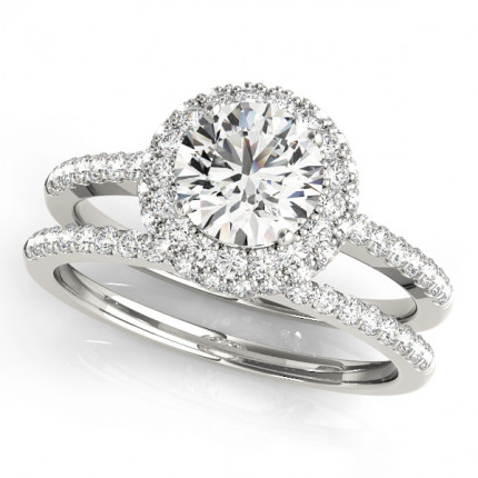 WS50534E | Halo Wedding Set Engagement Ring. | Payroll Jewelry