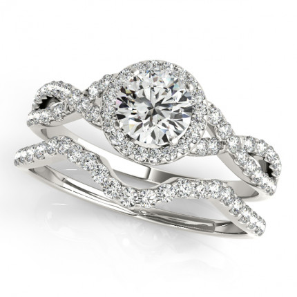 WS50536EA | Halo Wedding Set Engagement Ring. | Payroll Jewelry