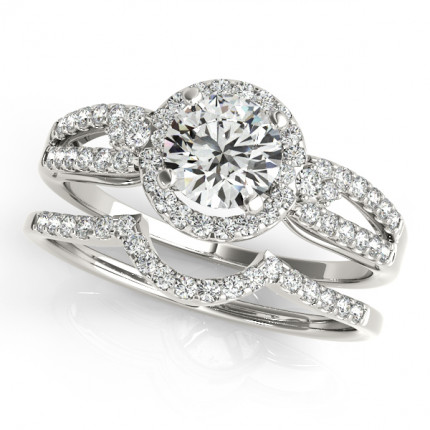 WS50537E | Halo Wedding Set Engagement Ring. | Payroll Jewelry