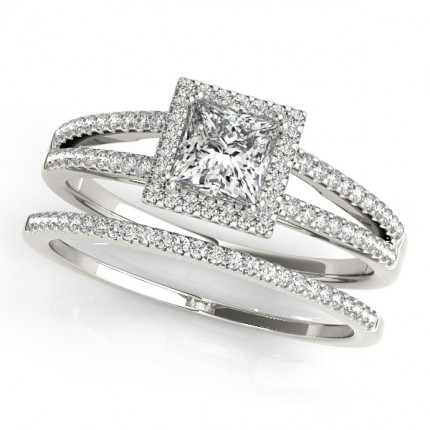 WS50549W | Halo Wedding Set Engagement Ring. | Payroll Jewelry