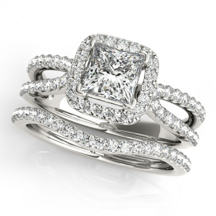 WS50552W-66 | Halo Wedding Set Engagement Ring. | Payroll Jewelry