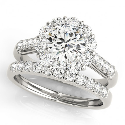 WS50584SET | Halo Wedding Set Engagement Ring. | Payroll Jewelry