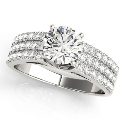 WS50625W-3/4 | Side Stone Engagement Ring. | Payroll Jewelry