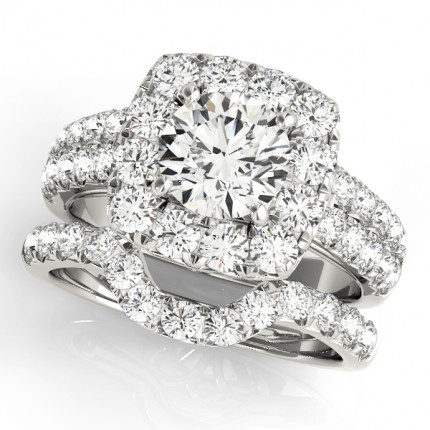 WS50657SET | Halo Wedding Set Engagement Ring. | Payroll Jewelry