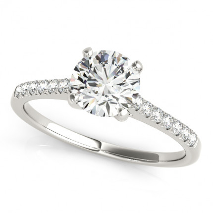 WS50804W | Side Stone Engagement Ring. | Payroll Jewelry