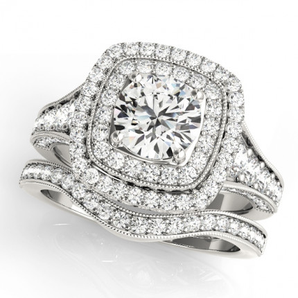 WS50871SET | Halo Wedding Set Engagement Ring. | Payroll Jewelry