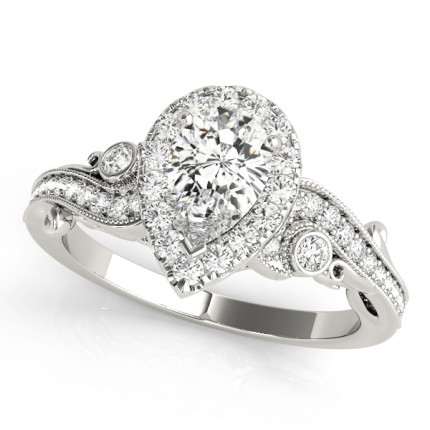 WS51006-E | Halo Engagement Ring. | Payroll Jewelry