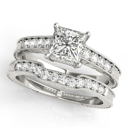 WS82856SET | Side Stone Engagement Ring | Payroll Jewelry