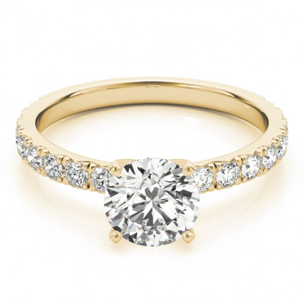 WS84842Y-3/4 | Yellow Gold Side Stone Engagement Ring. | Payroll Jewelry