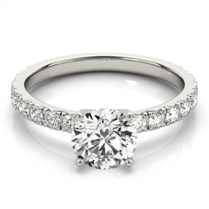 WS84842W-1/2   Side Stone Engagement Ring.   Payroll Jewelry