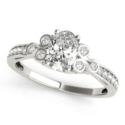 WS85069-1/2   Side Stone Oval Engagement   Payroll Jewelry
