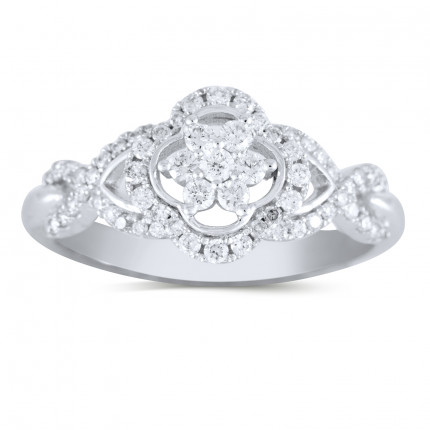 WLR298W | Halo Ladies Engagement Ring | Payroll Jewelry
