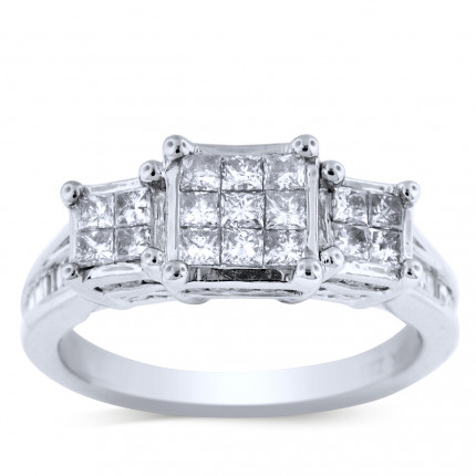 WLR47406W | Three Stone Engagement Ring | Payroll Jewelry