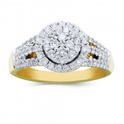 WLR518Y | Halo Ladies Yellow Gold Engagement Ring | Payroll Jewelry