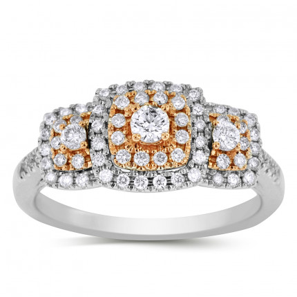 WLR71297PW | Three Stone Halo Engagement Ring | Payroll Jewelry
