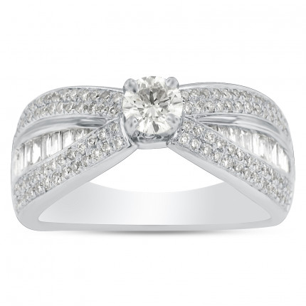 WS116575W   Side Stone Engagement Ring   Payroll Jewelry