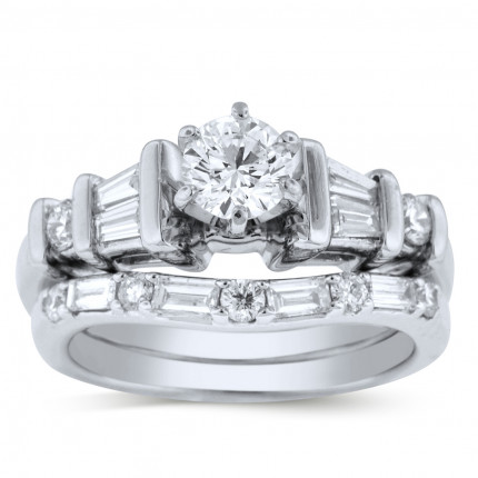 WS15706W | Side Stone Wedding Set | Payroll Jewelry