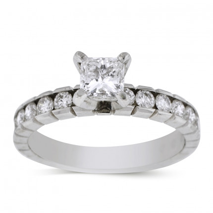WS20701W | Side Stone Engagement Ring | Payroll Jewelry