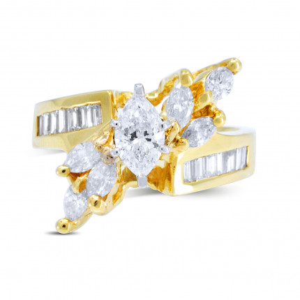 WS20755Y | Yellow Gold Side Stone Engagement Ring | Payroll Jewelry