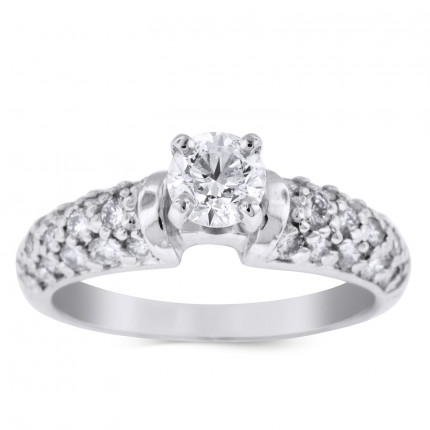 WS28565W | Side Stone Engagement Ring | Payroll Jewelry