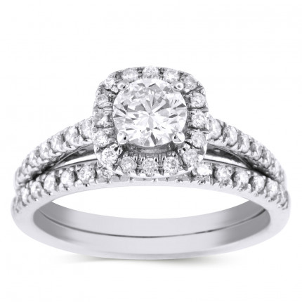 WS54683W | Halo Wedding Set Engagement Ring | Payroll Jewelry