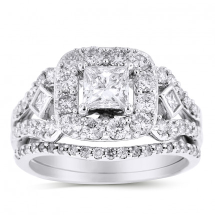 WS551252W | Halo Wedding Set Engagement Ring | Payroll Jewelry