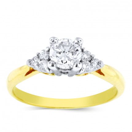 WS6303Y | Yellow Gold Side Stone Engagement Ring | Payroll Jewelry