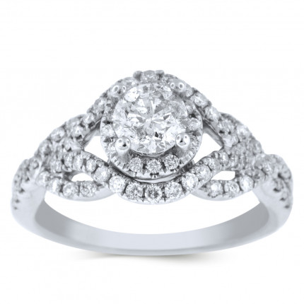 WS74663W | Halo Engagement Ring | Payroll Jewelry