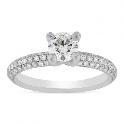 WS78385W | Side Stone Engagement Ring | Payroll Jewelry