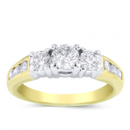 WS9377Y | Three Stone Yellow Gold Engagement Ring | Payroll Jewelry