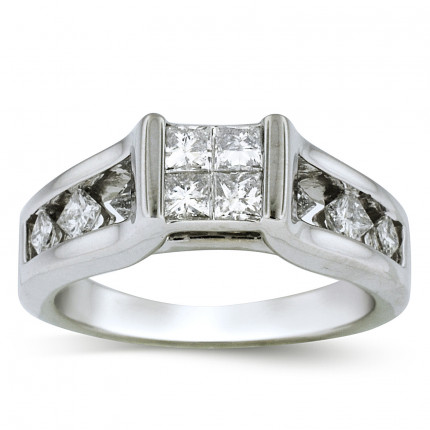 WSF11502W | Side Stone Ladies White Gold Ring | Payroll Jewelry