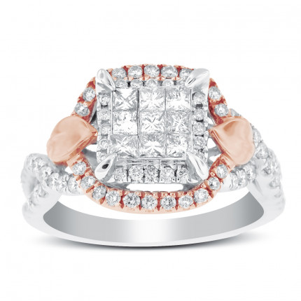 WSF83528PW | Side Stone Ladies White Gold Ring | Payroll Jewelry