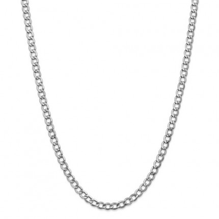 5.25mm Curb Chain | 14K White Gold | 24 Inch
