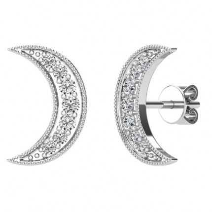 ER61922W | Crescent Moon Earrings | Payroll Jewelry