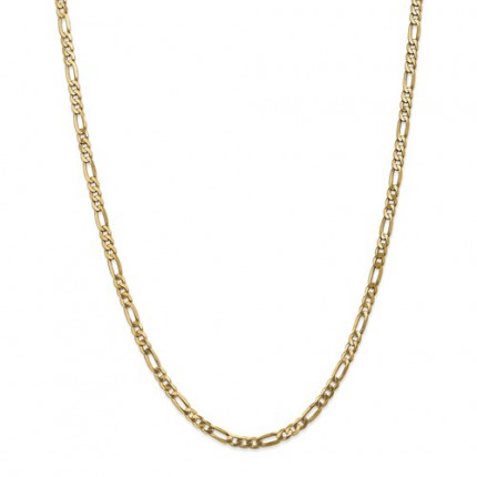 4mm Figaro Chain | 14K Yellow Gold | 18 Inch