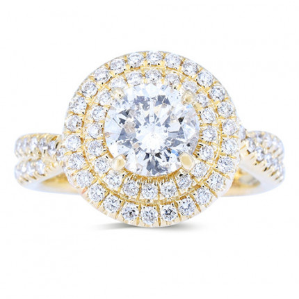 GABRIEL & CO | Payroll Jewelry | Halo Engagement Ring