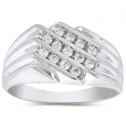 GR1257MW   White Gold Mens Ring.   Payroll Jewelry