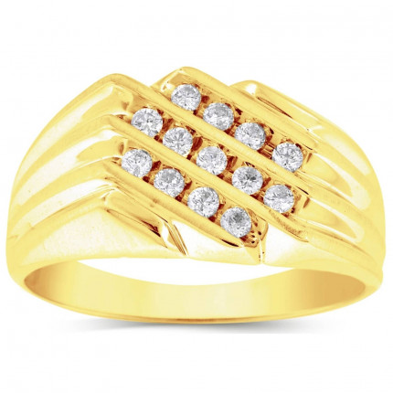 GR1257MY   Yellow Gold Mens Ring.   Payroll Jewelry